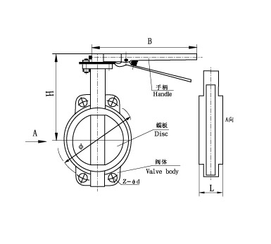 Затвор дисковый межфланцевый Ду 150 Ру 16 (КНР) 32ч1р, фото 2