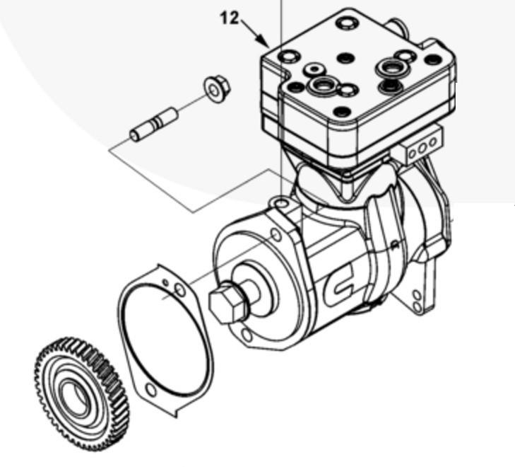 Компрессор воздушный одноцилиндровый в сборе с приводной шестерней 5286677, 5301094, 5301094NX, 5301094RX