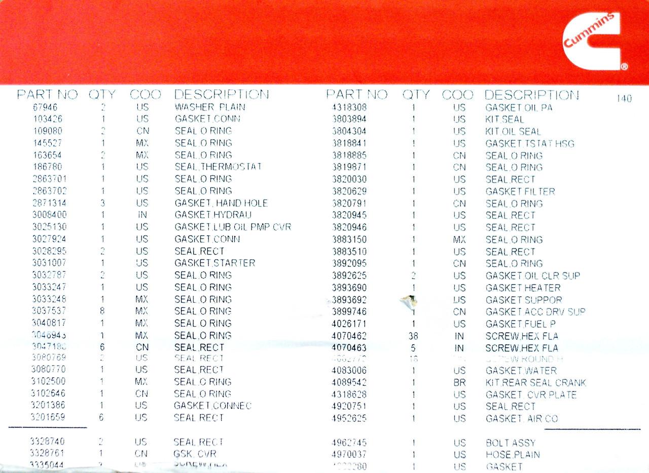 Нижний комплект прокладок Cummins M11 4089998 4089479 3800704 3804749 3803572 3803453 3803294