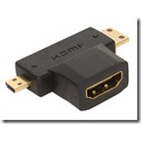 Переходник micro, mini HDMI (m) - HDMI (f) Gold-Plated