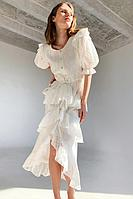 Платье из смесового хлопка с объемными рукавами и кулиской на талии TOPTOP
