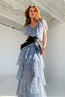 Кружевное платье из смесового хлопка с многоярусной юбкой и поясом в комплекте TOPTOP STUDIO