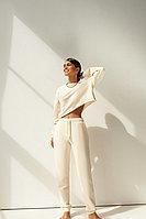 Трикотажные брюки-джоггеры из 100% хлопка с кулиской TOPTOP STUDIO