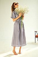 Приталенное платье-миди, с принтом, в тонкую полоску, и открытой спиной, TOPTOP STUDIO