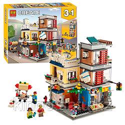 Конструктор LARI, Зоомагазин и кафе в центре города, 11401, 985 деталей