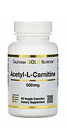 Ацетил-L-карнитин, 500 мг, 60 растительных капсул.