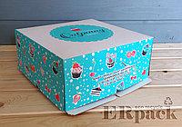 Коробка для торта с гофроподдоном 300*300*120 мм.
