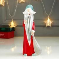 Сувенир керамика 'Дед Мороз с мешком подарков' красный с бирюзой 18,5х6,8х7 см