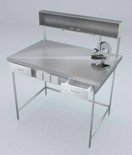 Стол приборный, полка, 2 ящика, блок розеток, подсветка, ц/м, 1800х600х820 (1500) мм