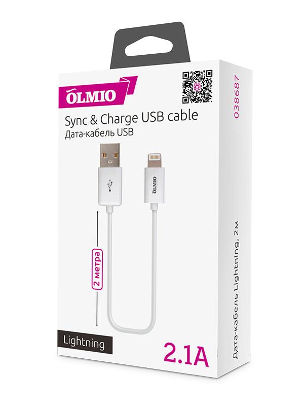Кабель OLMIO USB 2.0 - Lightning (2м, White)