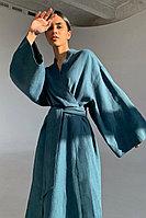 Платье из 100% льна в восточном стиле с широким поясом TOPTOP STUDIO