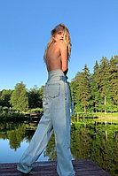 Широкие джинсы из 100% хлопка с высокой талией и поясом TOPTOP STUDIO