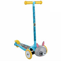 Детский самокат REXCO 3-х кол. 3D ЗАЙКА БАННИ, голубой, кол. PVC передние 130 * задние105 мм. (без шлема)