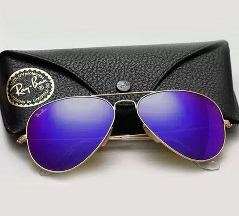 Очки солнцезащитные Aviator Ray-Ban (Серебристая оправа/Темно-синие зеркальные линзы)