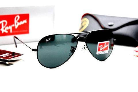 Очки солнцезащитные Aviator Ray-Ban (Черная оправа/серо-голубые линзы)