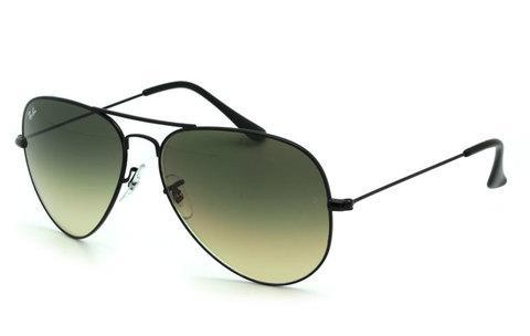 Очки солнцезащитные Aviator Ray-Ban (Черная оправа/серо-зеленые линзы)