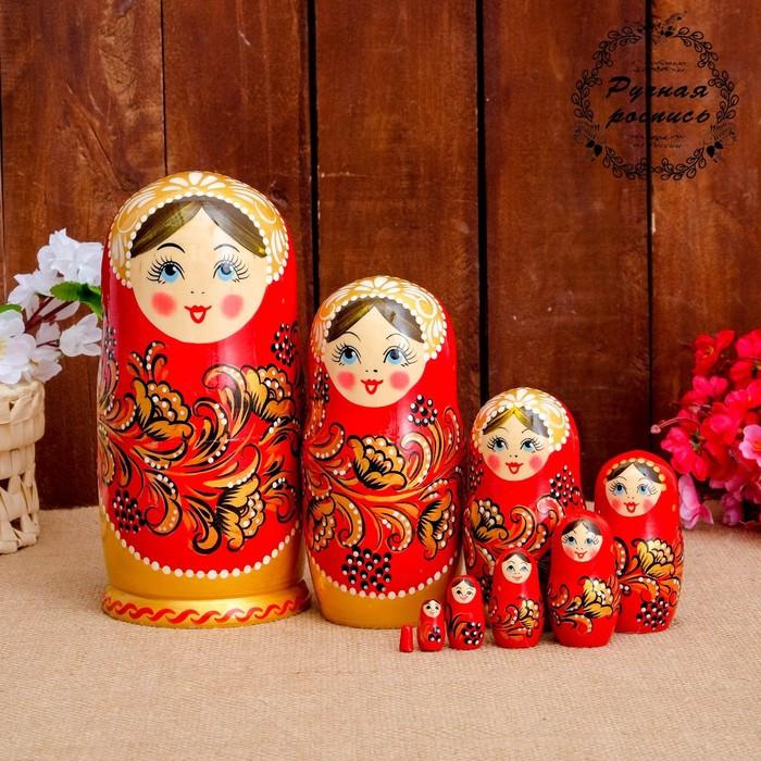 Матрёшка «Золотая хохлома», красный платок, 9 кукольная, 20 см