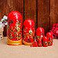 Матрёшка «Золотая хохлома», красный платок, 9 кукольная, 20 см, фото 2