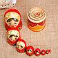 Матрёшка «Золотая хохлома», красный платок, 9 кукольная, 20 см, фото 3