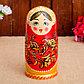 Матрёшка «Золотая хохлома», красный платок, 9 кукольная, 20 см, фото 4