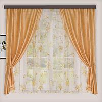 Комплект штор для кухни «Романтика», 290х165 см, цвет бежевый