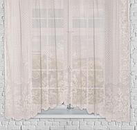 Штора кухонная со шторной лентой, 245х165 см, цвет ванильный