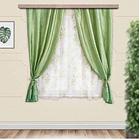 Комплект штор для кухни Романтика 285х160 см, зеленый, полиэстер 100%