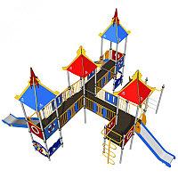 Игровой комплекс Romana, с горками, лазом, шведской стенкой, домиками с крышей, фото 1