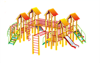 Детский городок, домики с крышей, рукоходы, горки, лестницы, лазы
