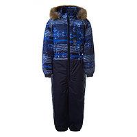 Детский комбинезон Huppa WILLY, синий с принтом/тёмно-синий - 128