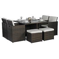 Мебельный комплект из ротанга:стол, 4 кресла+4 пуфика