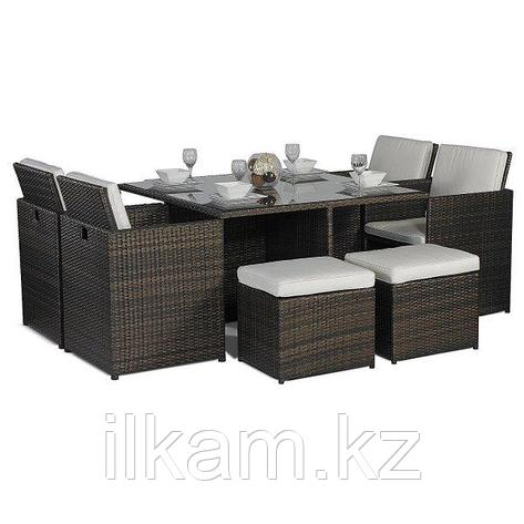 Мебельный комплект из ротанга:стол, 4 кресла+4 пуфика, фото 2
