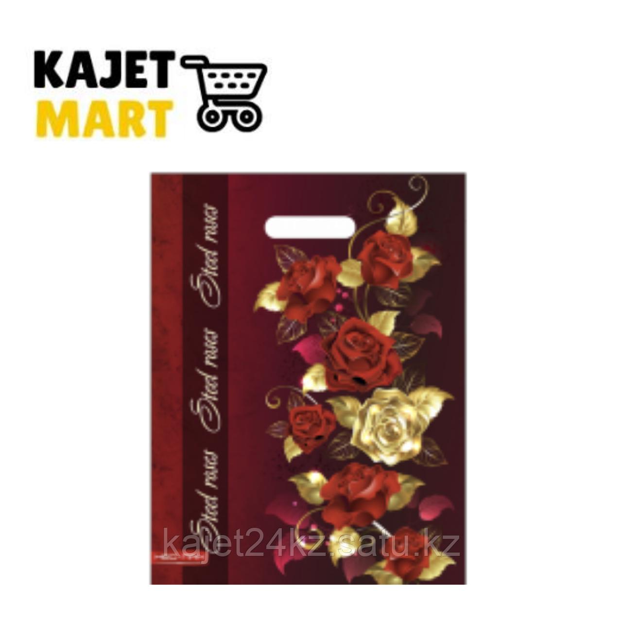 Пакет ВУР 30*40/75 мкм. Золотые розы, лам, полипропилен блестящий (25/1000)
