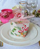 """Бонбоньерка-куб, коробочка """"Фламинго"""""""