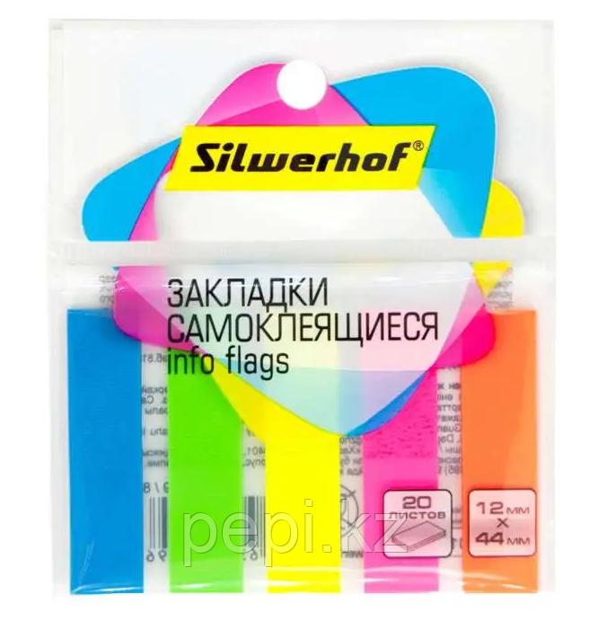 Стикер-индекс SILWERHOF 44х12 мм, пластиковые 5 цв х 20 листов