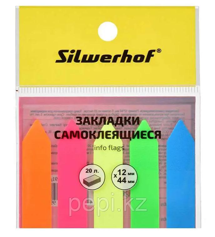 "Стикер-индекс SILWERHOF ""Стрелка"" 12 х 44 мм, пластиковые, 5 цв х 20 листов"