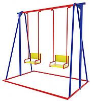 Детская качеля двойная, синяя, красная