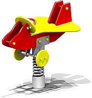 Качеля на пружине самолётик, жёлтая, красная