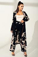 Костюм в пижамном стиле с принтом Журавли и декоративным ярким кантом TOPTOP STUDIO