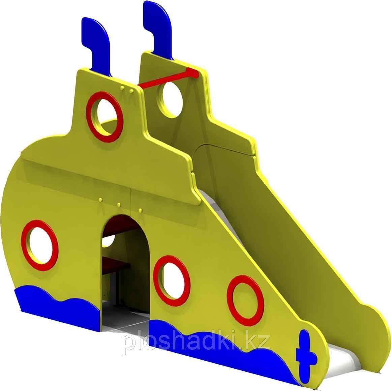 Горка детская в виде подводной лодки, с сидениями