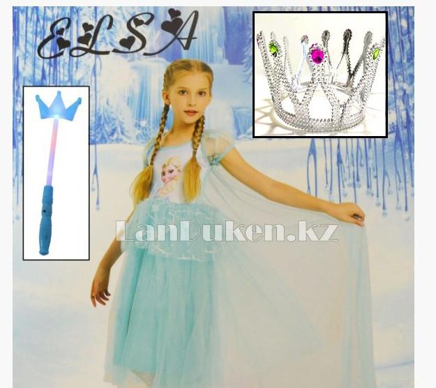 Костюм Эльзы (Холодное Сердце) с аксессуарами (корона и палочки с 3 режимами) - фото 1