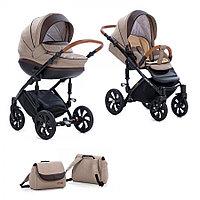 Детская коляска Tutis Mimi Style 2 в 1 Бежевый лён + Кожа коричневая