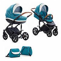 Детская коляска Tutis Mimi Style 2 в 1 Лен цвет Морской волны+ кожа Белая