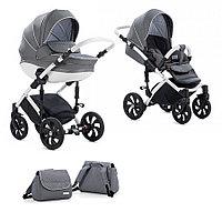 Детская коляска Tutis Mimi Style 2 в 1 Серый лен+ белый горох + кожа Белая рама