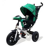 """Велосипед 3-колесный, (бело-зеленый) надув.  12и10"""", светомузыкальная панель со световыми и звуковыми эффектам"""