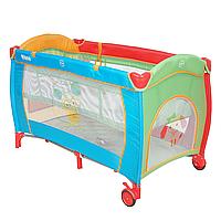 PITUSO Манеж-кровать GRANADA ПЕСИК 2-уровневый на молнии лаз пласт кольца 4шт, 2 колеса 120*60*