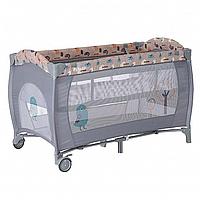 PITUSO Манеж-кровать GRANADA ПТИЧКИ 2-уровневый на молнии лаз пласт кольца 4шт, 2 колеса 120*60*