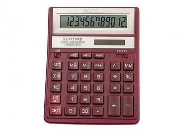 """Калькулятор настольный SKAINER """"777XRD"""" 12 разрядный красный"""
