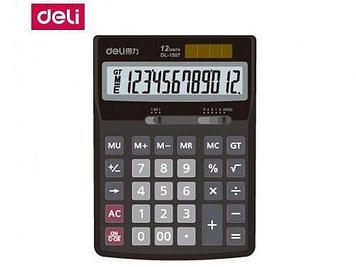 """Калькулятор настольный DELI """"1507"""" 12 разрядный серый"""