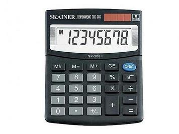 """Калькулятор настольный SKAINER """"308II"""" 8 разрядный черный"""